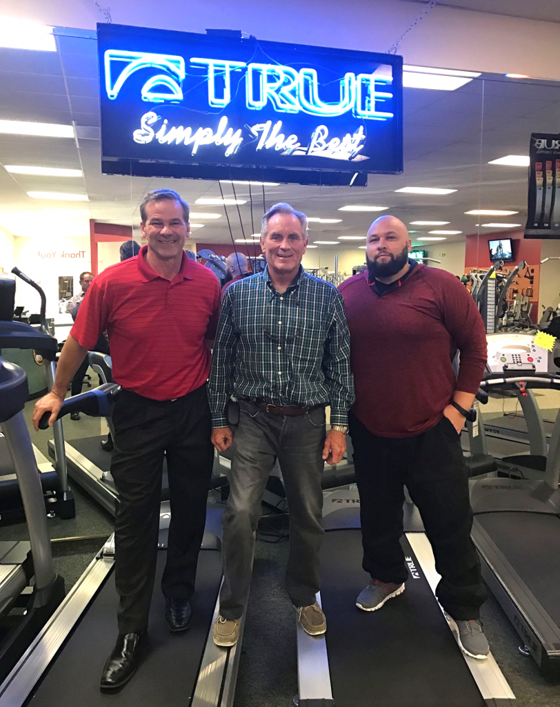 True Fitness CEO, Frank Trulaske, visiting Fitness Gallery's Denver location, meeting with Donnie Salum (President & Founder) and Carlos Aviles (Denver Retail Manager)