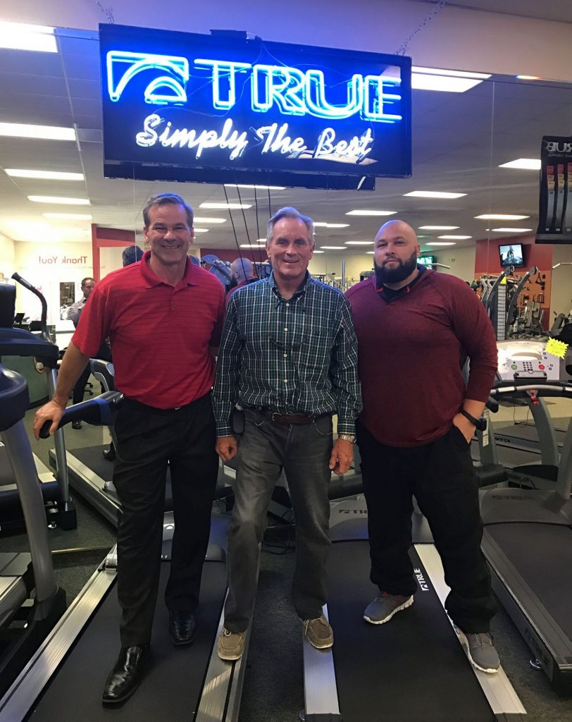 True Fitness CEO, Frank Trulaske, visiting Fitness Gallery's Denver location, meeting with Donnie Salum (CEO) and Carlos Aviles