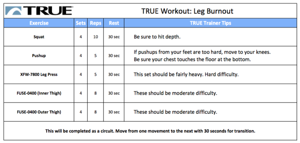 TRUE Fitness Leg Workout
