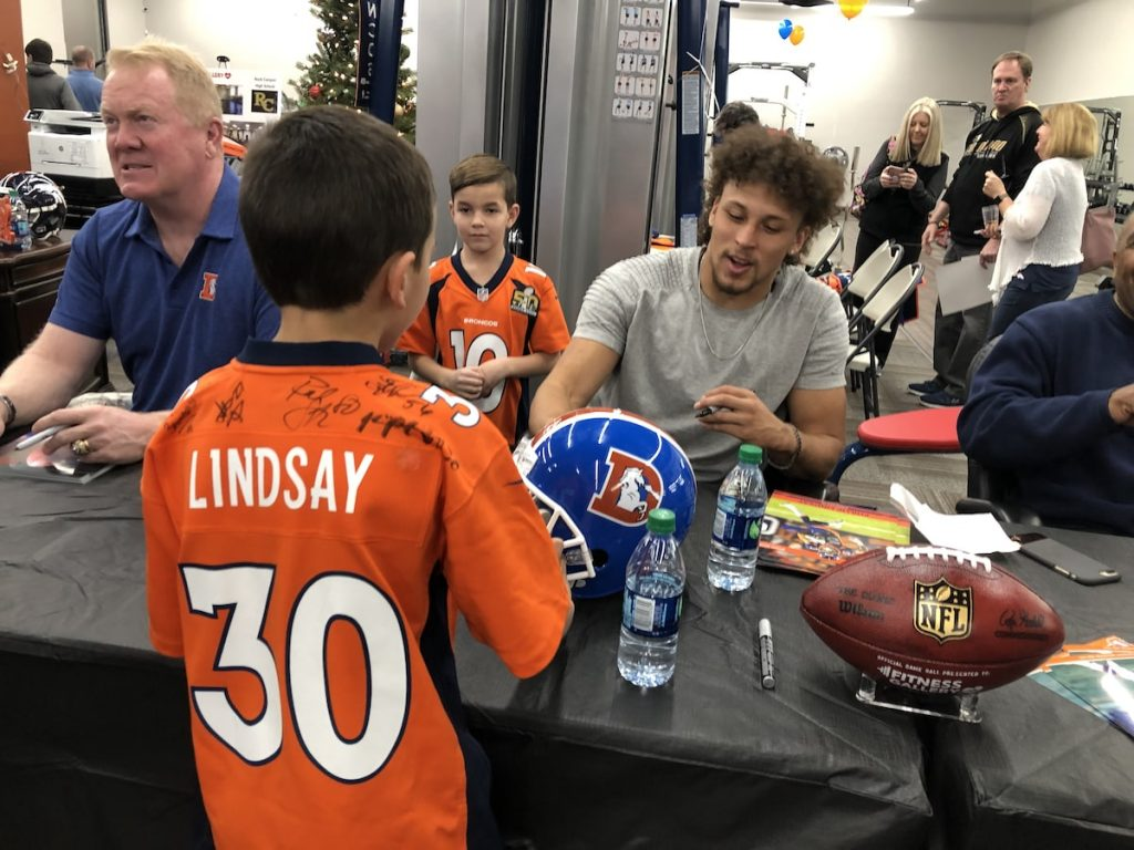 Phillip Lindsay Signing Autographs at Fitness Gallery