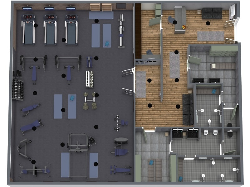 3D Gym Design - Room Layout