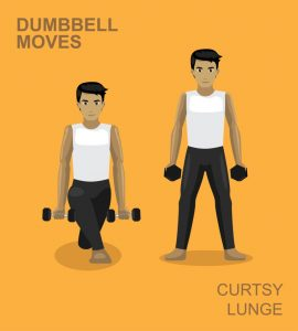 Curtsy lunge with dumbbells