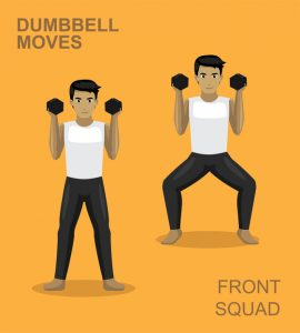 Front squat with dumbbells